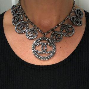 Chanel CC logo necklace slate grey